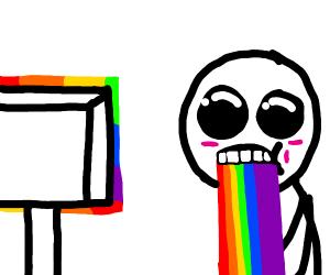guy puking rainbows