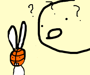 curious face staring at a basketball bunny