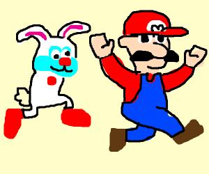 Happy Clown Bunny chasing Mario