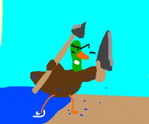 Beach mallard is armed! A fancy spear n knife