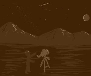 Mountain staring at night sky