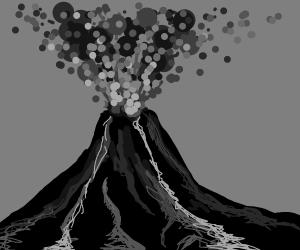 Gray scale erupting volcano