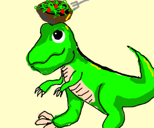 eating a salad on a t-rex's head