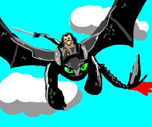 Jon Snow rides Toothless