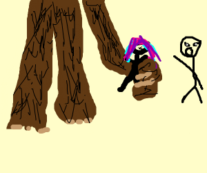 brown evil giant grabs stickman's gf