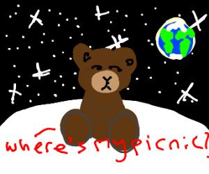Bear on moon wants a picnic