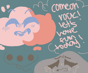 Oblivious red cloud and sad rock