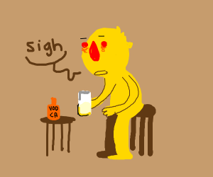 Depressed yellmo drinks his sorrows away