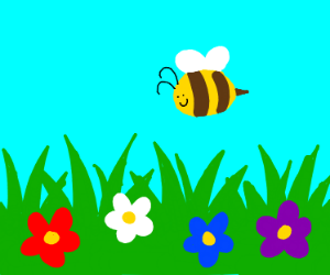 Flower field with bee