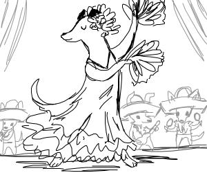 dog dances with maracas