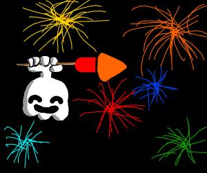 Ghost firing a firework