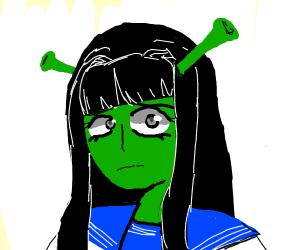 shrek as an anime school girl
