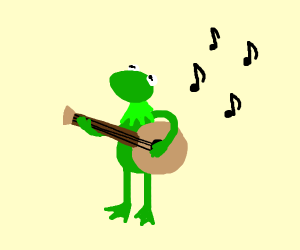 Kermit the Frog plays a banjo at rock concert