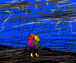 Person standing in a rainstorm