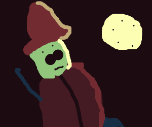 Witch with large nostrils stares at moon