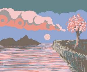 cherry blossom tree on a cliff in beach