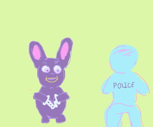 purple bunny is a murderer and was arrested
