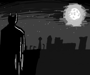 Batman looking over Gotham from a tower