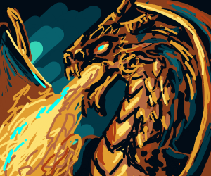 Gold serpent dragon shoots Flames of blue