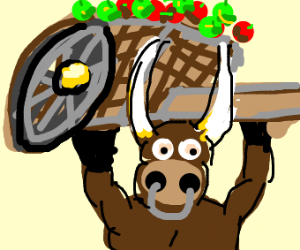 Bull carrying a wagon