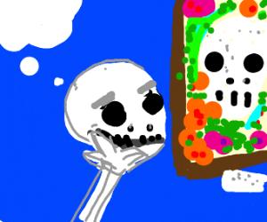 skull looking at art piece of a skull