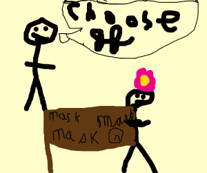 stick man waiting for stick gf to choose mask