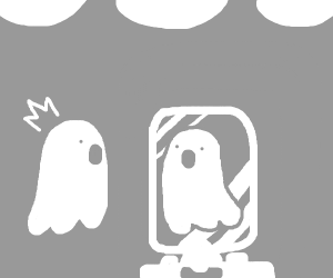 Ghost looks into mirror