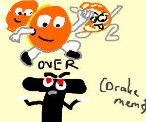 oranges over T (drake meme)