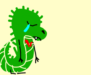 Sad dinosaur gets heart broken