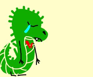 Sad dinosaur gets heart broken