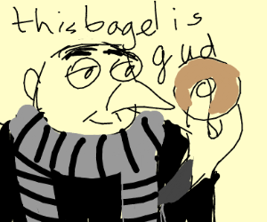 gru is content with his bagel