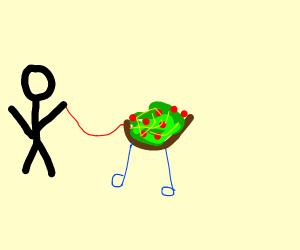 Man walking salad