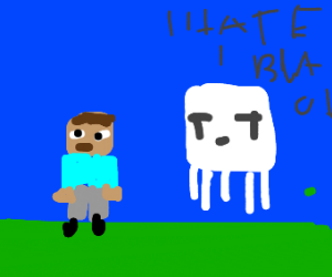 Minecraft Steve is bullied by racist ghost