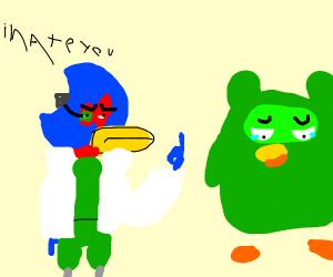 "A bird giving the ""bird"" to another bird"