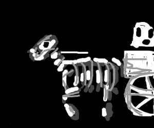 Skeletal horse leading a ghost wagon