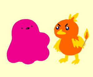 Pink Slime caught chicken playing with Match