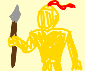 Gold Suit of armour holding a spear