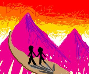 A shadowed couple walking uprose mountain