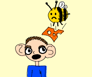 bee dropping cheese on a person