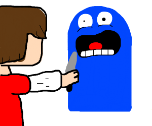 man stabbing blue