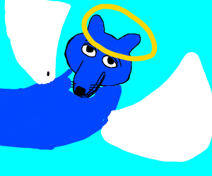blue fox with wings and a halo