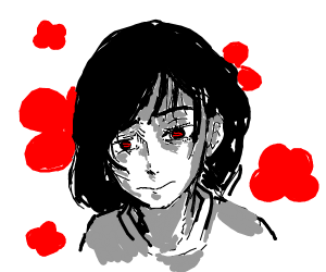 pretty black haired anime girl w red flowers