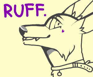 a dog saying ruff