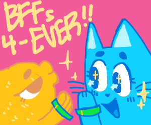 Fish and cat with BFF braceletts