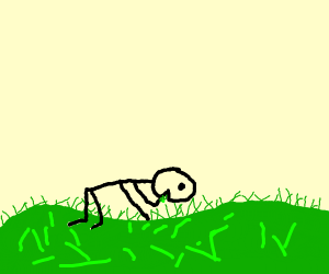 Stickman that love chewing on grass