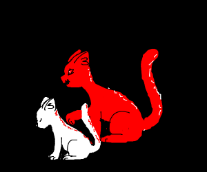 Sad white cat with evil red shadow