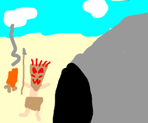 Masked man coming out of cave