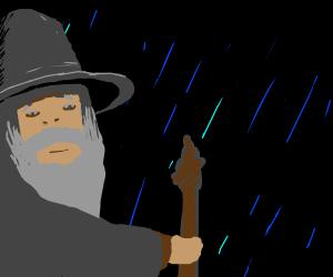 Gandalf the Grey in the rain