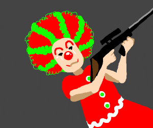 Clown with a gun