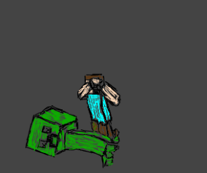steve crying over a creeper's dead body